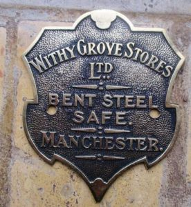 John Lowe brass safe plate - front - circa 1896 - Manchester. Image courtesy J. Shaw.