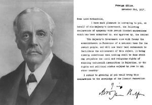 Portrait of Lord Balfour, along with his famous declaration.   This article incorporates public domain material .